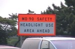 MD90 Safety: headlight use required ahead