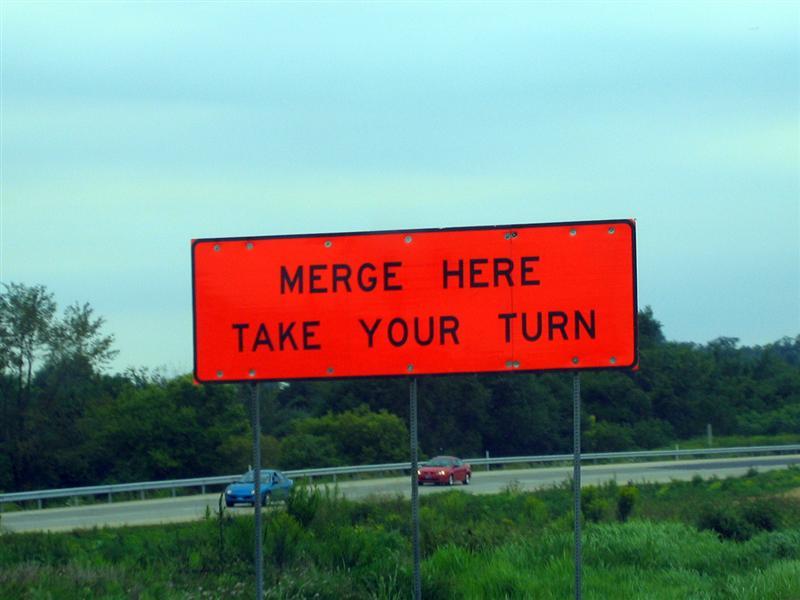 Merge here; Take your turn