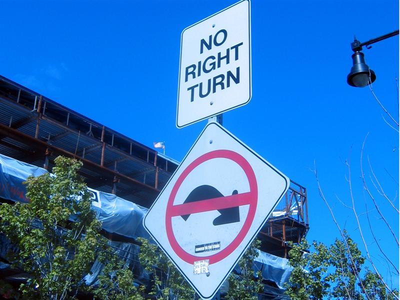 No right turn (with weird graphic and diagonal mounting)