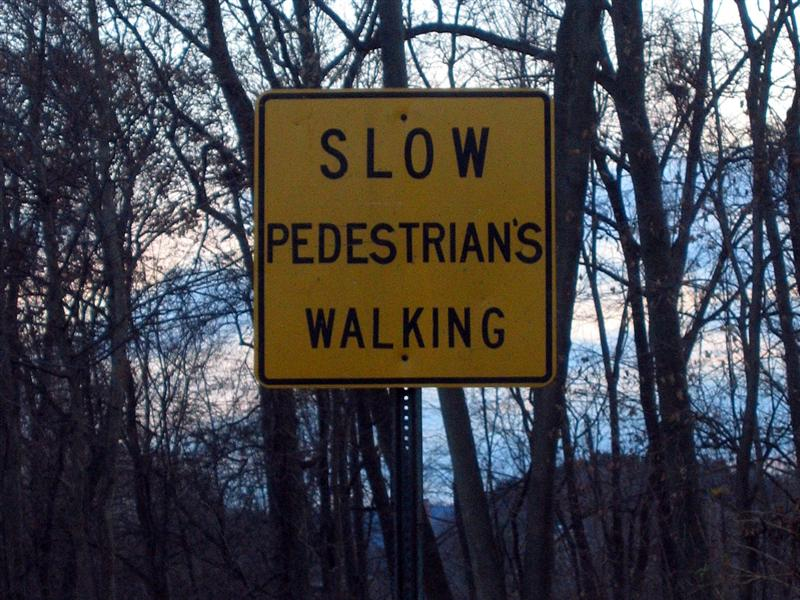 Slow pedestrian's walking